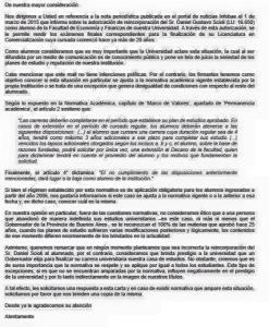 Carta de alumnas de la UADE indignados